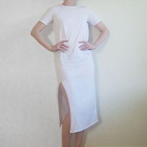 Asos White T-Shirt Midi Dress with Side Slit